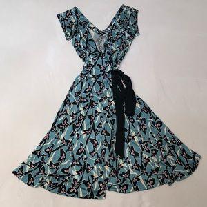 Diane von Furstenburg Heerlen Blue Midi Wrap Dress